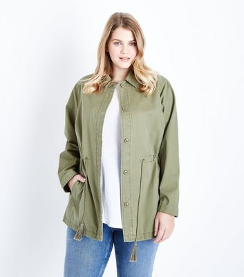 Curves Khaki Tassel Drawstring Waist Shacket