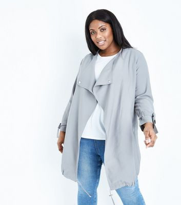 Curves Grey Waterfall Collar Duster Jacket