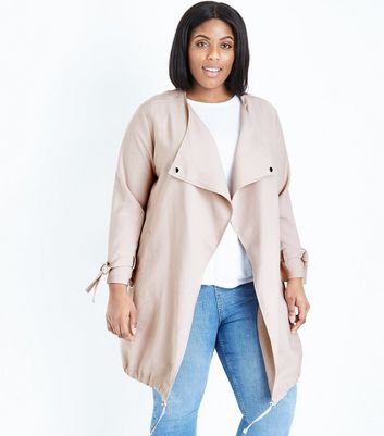 Curves Pale Pink Waterfall Collar Duster Jacket