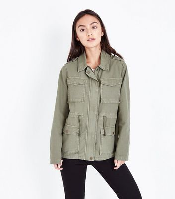 Petite Khaki Cotton Shacket