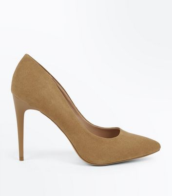 Brown Suedette Stiletto Heel Pointed Courts
