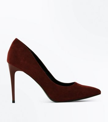 Dark Red Suedette Stiletto Heel Pointed Courts