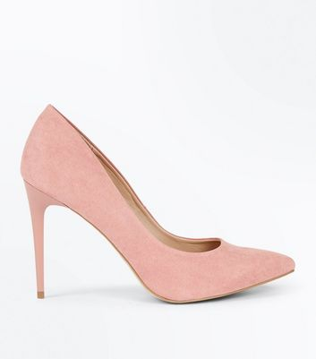 Pink Suedette Stiletto Heel Pointed Courts