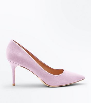 Lilac Suedette Pointed Court Shoes