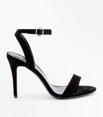 Wide Fit Black Suedette Circle Buckle Heeled Sandals