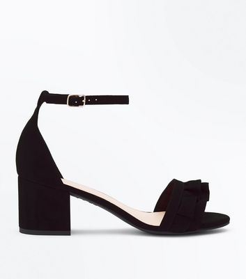 Wide Fit Black Frill Strap Low Block Heel Sandals