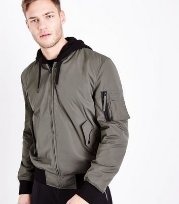Khaki Hooded Bomber Jacket by New Look