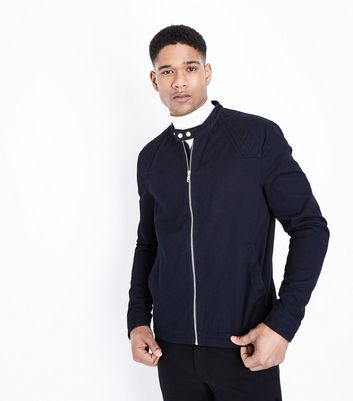 Navy Cotton Biker Jacket