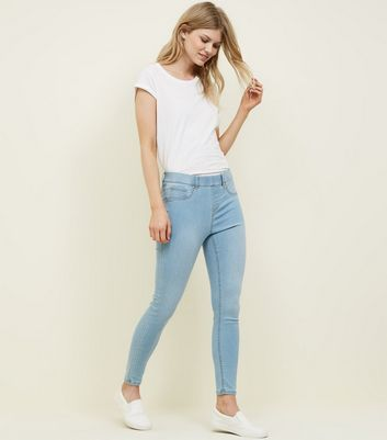 Petite Pale Blue Bleach Wash Jeggings