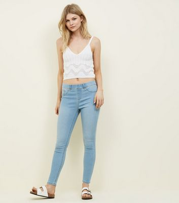 Petite Pale Blue 26in Bleach Wash Jeggings