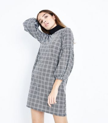 Grey Prince of Wales Check Balloon Sleeve Tunic Dress