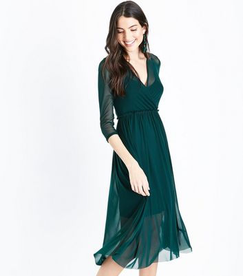 Dark Green Mesh Ribbon Back Midi Dress