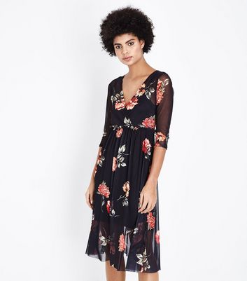 Black Floral Mesh Ribbon Back Midi Dress