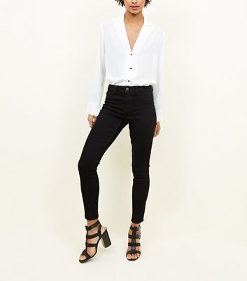 Black Cut Off Hem Skinny Jenna Jeans