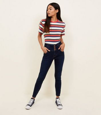 Petite Blue Rinse Wash High Waist Skinny Jeans