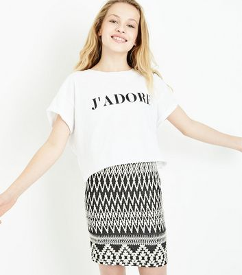 Teens Black Aztec Jacquard Tube Skirt