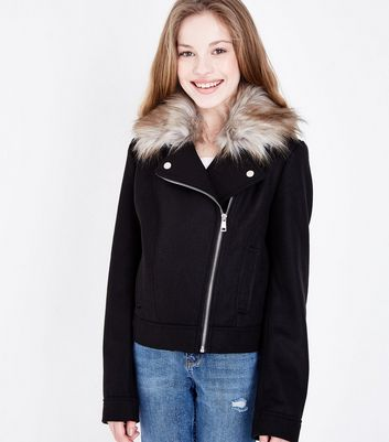 Teens Black Faux Fur Collar Felted BikerJacket