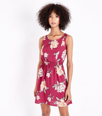 Deep Pink Floral Shirred Waist Mini Dress