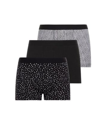 3 Pack Black and White Geometric Print Trunks