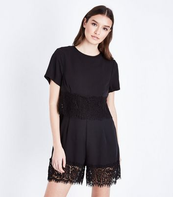 Black Layered Lace Trim Playsuit