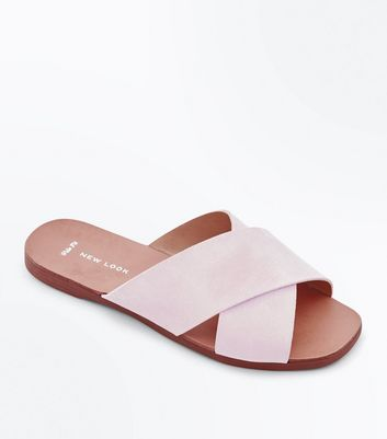 Wide Fit Pink Suede Cross Strap Sliders