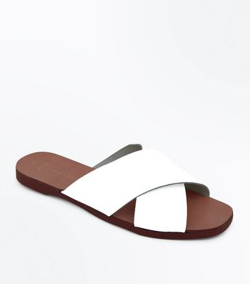 Wide Fit White Leather Cross Strap Sliders