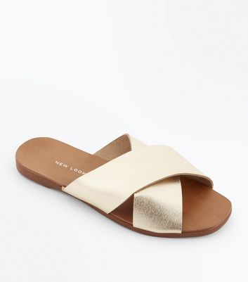 Wide Fit Gold Leather Cross Strap Sliders