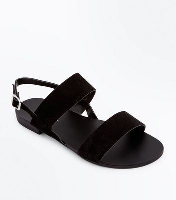 Wide Fit Black Suede Double Strap Sandals