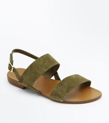 Wide Fit Khaki Suede Double Strap Sandals