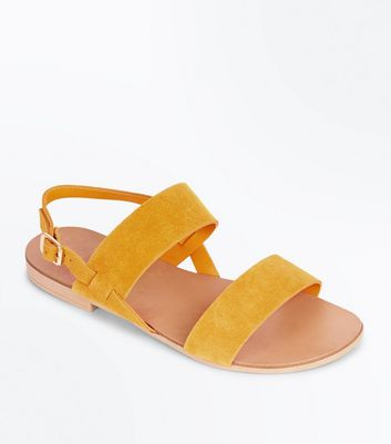Wide Fit Mustard Suede Double Strap Sandals