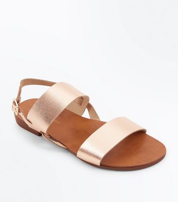 Wide Fit Rose Gold Leather Double Strap Sandals
