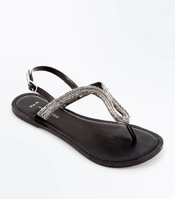Wide Fit Black Leather Beaded Sandals