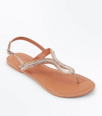 Wide Fit Nude Leather Beaded Sandals