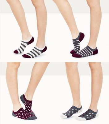 4 Pack Purple Star and Stripe Pattern Ankle Socks