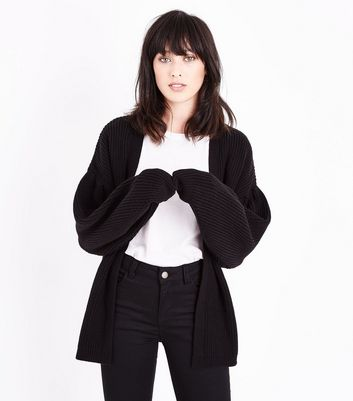 Black Balloon Sleeve Longline Cardigan