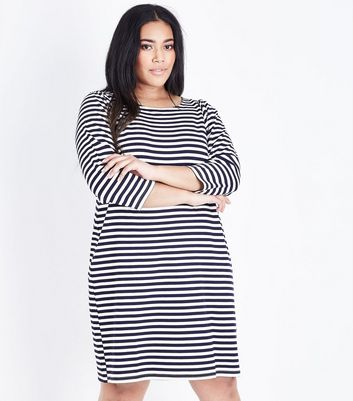 Curves Blue Stripe 3/4 Sleeve Jersey Tunic Dress