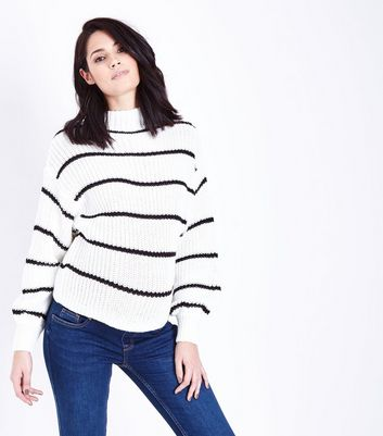 Maternity White Stripe Balloon Sleeve Jumper