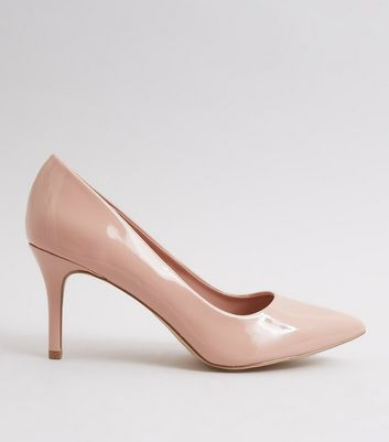 Nude Patent Pointed Court Shoes