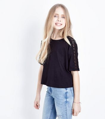 Teens Black  Crochet Sleeve T-Shirt