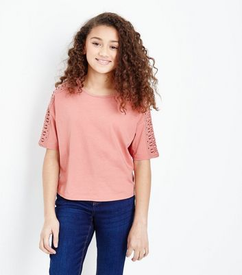 Teens Coral Crochet Sleeve T-Shirt