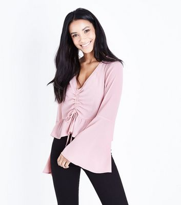 Pale Pink Ruched Front Bell Sleeve Top