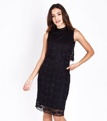 Mela Black Lace Overlay Dress