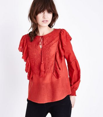 Red Embroidered Frill Trim Tassel Tie Blouse