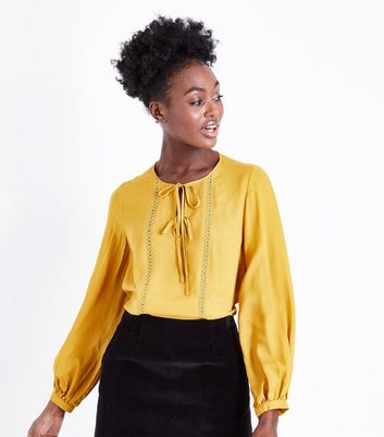 Mustard Circle Lace Trim Smock Top