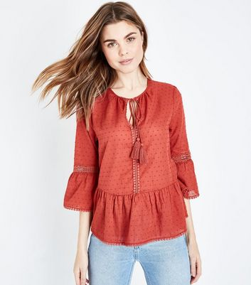 Plum Spot Textured Tassel Front Bell Sleeve Top