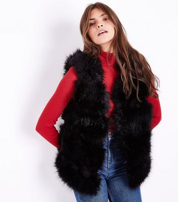 Cameo Rose Black Faux Fur Gilet