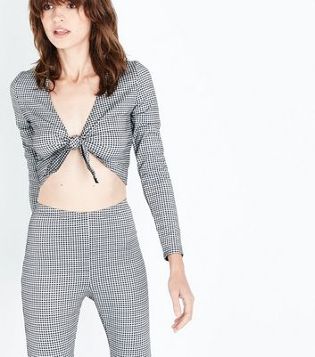 Grey Gingham Tie Front Crop Top