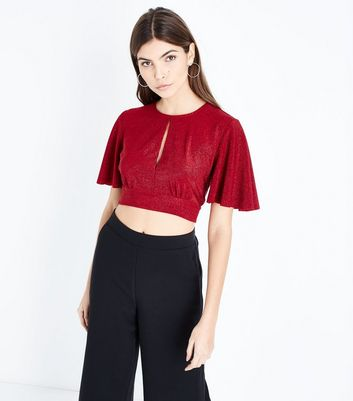 Red Glitter Keyhole Crop Top
