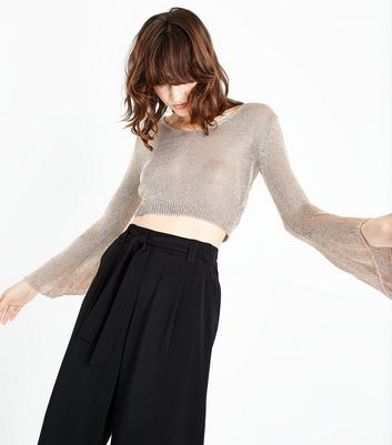QED Rose Gold Glitter Flare Sleeve Crop Top