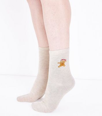 Cream Embroidered Gingerbread Socks